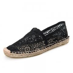 lace womens Slip-On Espadrille Shoes linen sole canvas shoes BLACK 38