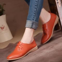 Flat dance shoes women's cowhide casual shoes genuine leather dance shoes female Orange 35