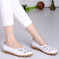 Women's genuine leather comfortable breathable shoes openwork for hollow casual flat shoes white 35