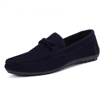 Men's Flats Suede Leather Shoes  casualShoes Men Flats Moccasins Loafers Men slip- on Flats WF-621 blue 42