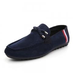 Men's Moccasins Loafers Flats Suede Leather Shoes  casualShoes Men Flats Men lace up Flats WF-009 Dark blue 39