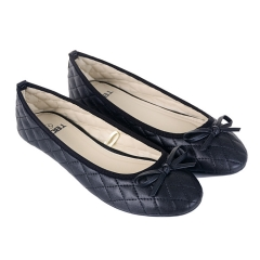 Women new bowknot Round Toe Flat Heel Casual shoes Flats grid soft leather Female Shoes HZNL-001 black 37