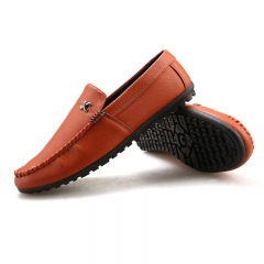 2016 New Men's Casual Shoes Soft Breathable Moccasin-gommino shoes Moccasins Men Shoes WF-1005 orange 39