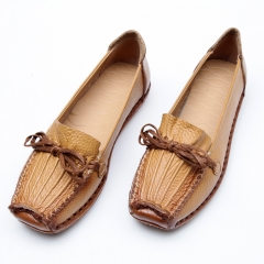 Spring And Autumn Loafers Women's Flat Shoes Woman Handmade Shoes Genuine Leather Shoes Women Flats brown 40