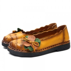 Genuine Leather Shoes Moccasins Women Flats Handmade Flower Soft Outsole Vintage Style yellow 40