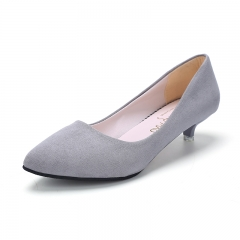 2016 new women pointed toe low heel fashion swede leather women's shoes office shoes GREY 35