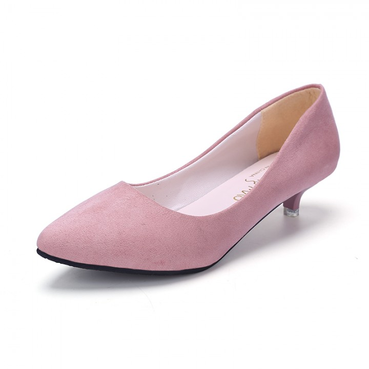 2016 new women pointed toe low heel fashion swede leather women s shoes  office shoes pink 37 583a057bd8ae