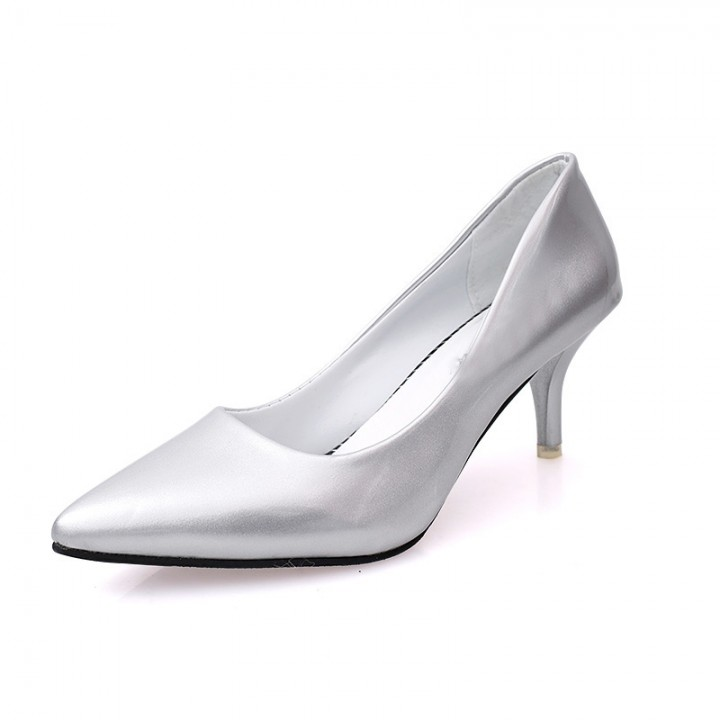 6d21f9e30d5 2016 new women pointed toe high heel fashion glossy japanned leather women s  shoes office shoes silver