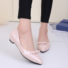 2016 New Fashion Sweet Bowknot Flats Bowtie pointed Toe Women Shoes Female office Shoes Single Shoes black 38