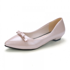 2016 New Fashion Sweet Bowknot Flats Bowtie pointed Toe Women Shoes Female office Shoes Single Shoes PINK 35