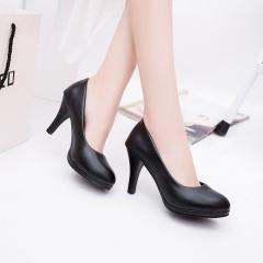 Woman round toe  High Heels  Pumps  simple fashion office shoes Matte black(YG) 34