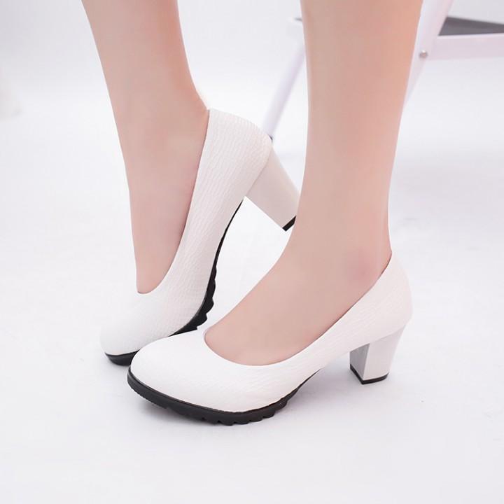 0090b56ef0b Woman round toe High Heels Pumps simple fashion office shoes white ...
