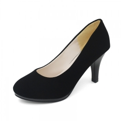 Fashion Woman round Toe High Heels pumps suede leather Women single simple office shoes black 34