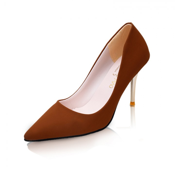 Fashion Woman Pointed Toe High Heels pumps suede leather Women single  office shoes khaki 34