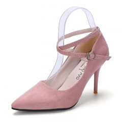 Fashion Woman Pointed Toe High Heels pumps suede leather Women single office pink 34