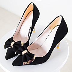 Fashion Woman Pointed Toe High Heels pumps suede leather with bowknot  Women  office shoes black 34