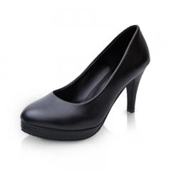 New  fashion Woman round Toe High Heels pumps Women single office shoes black 34