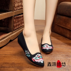 women Chinese Traditional Embroidery Shoes pointed toe flats black 39