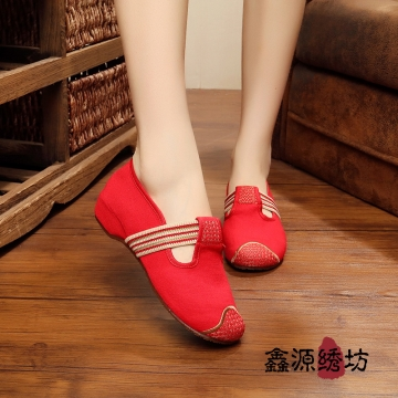 Women flats Chinese Old Peking Embroidery Shoes red 39