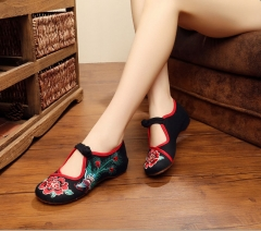 women Chinese Traditional Embroidery Shoes with phoenix flats lace up shoes black 39