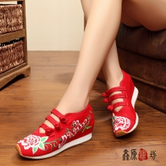 Women sport shoes Chinese Old Peking Embroidery Shoes blue 38
