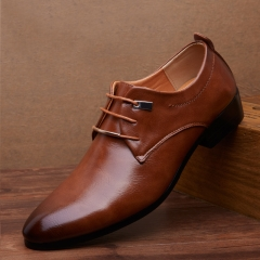 Men pu Leather Shoes  Men's Flats Formal Shoes Classic Business Dress Shoes brown 38