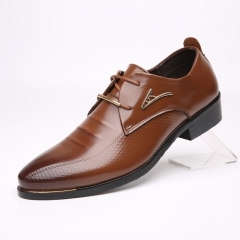 Men  PU Leather shoes Pointed toe   Classic Business Shoes Men's Dress Shoes brown 38 PU LEATHER