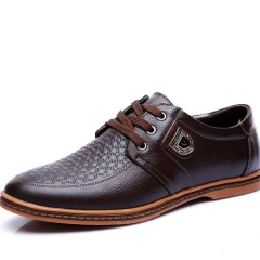 Men   Genuine COW Leather Casual Flats Dress High Quality Shoes Big sizes brown 38