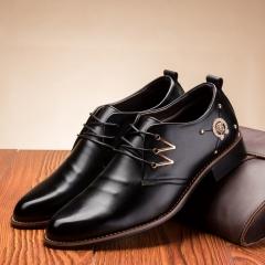 Men fashion casual leather shoes business shoes black 38