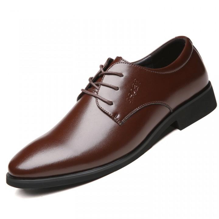 Men Genuine COW  Leather Shoes Men's Flats Formal Shoes Classic Business  Shoes brown 38