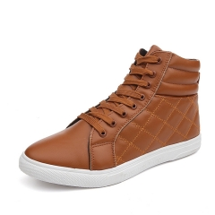 Men Fashion high quality PU Leather Boots  Casual Shoes yellow 39