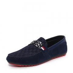 Men's Moccasins shoes Suede Leather Shoes casual Shoes blue 39
