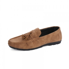 Men's Moccasins Loafers Flats frosted  Leather Shoes casual Shoes khaki 39