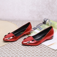 New style Woman Pointed Toe square Heels pumps PU leather Women office shoes red 35