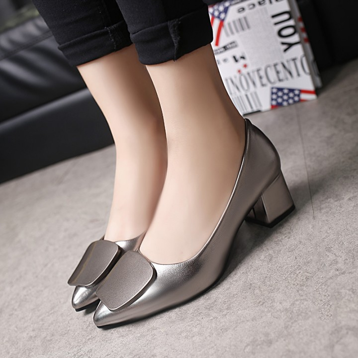 New style Woman Pointed Toe square Heels pumps woman office shoes coffee 35