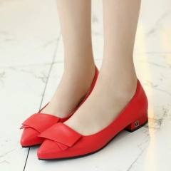 Fashion Woman Pointed Toe square Heels pumps PU leather office shoes red 34
