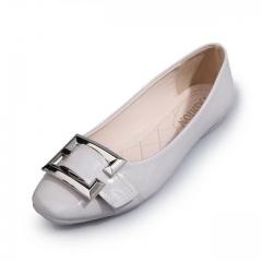 Fashion Women round Toe square shoes comfortable shoes cream 35