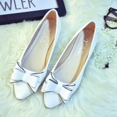 New Fashion Sweet Bowknot Flats Bowtie pointed Toe Women Shoes office Shoes white 35