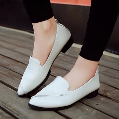 Fashion Woman Pointed Toe pu leather flat comfortable shoes white 35
