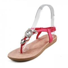 2017 New arrival women sandals fashion flip flops flat shoes causal Bohemia women shoes red 36