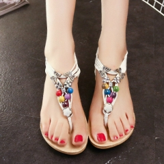 2017 New arrival women sandals  flip flops flat shoes causal Bohemia women shoes white 36