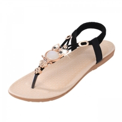 2017 New style  women sandals fashion flip flops flat  causal Bohemia shoes black 36
