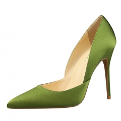 2017 new style fashion Woman Pointed Toe High Heels pumps Women office shoes green 34