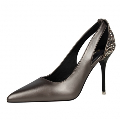 2017  fashion Woman Pointed Toe High Heels pumps women office shoes coffee 34
