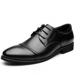 Men Genuine COW Leather Shoes Men's Flats Formal Shoes Classic Business Shoes wedding shoes black 38