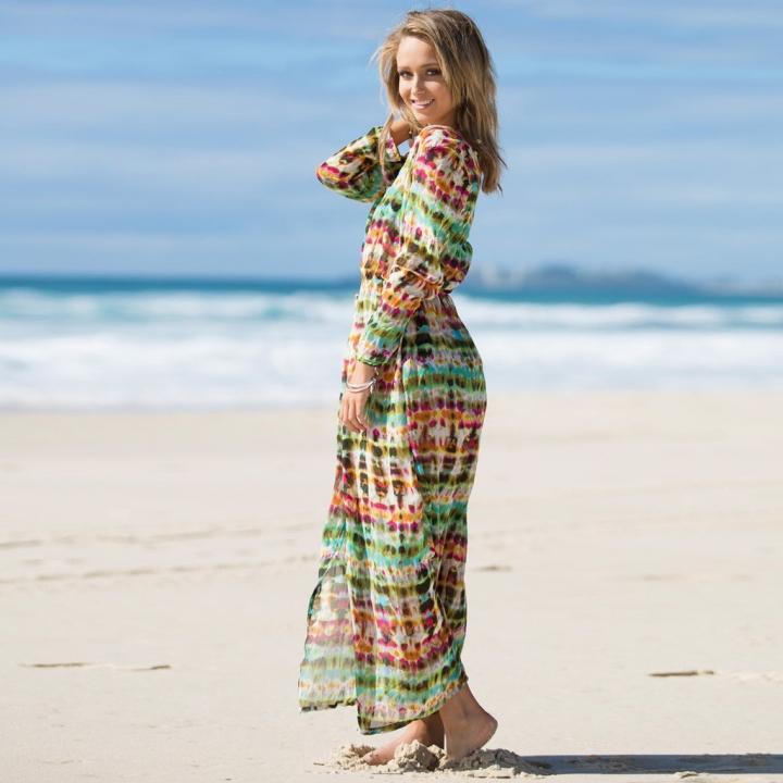 New Vintage Beach Dress Womens Chiffon Long Beach Tunic Bikini Cover Up Long Sleeve Maxi Dress AS PICTURE S