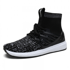 Quality Slip On Running Shoes for Men Breathable Mesh Trainer Sneaker high top sport Jogging shoes Black-grey 39