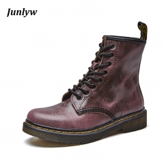 Junlyw Genuine leather women martin boots   female motorcycle ankle fashion boots women botas Red-brown 35