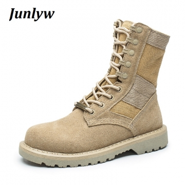 Junlyw Men boots Genuine Leather Tactical men's Combat Hunting Military Boots Suede Stitching Canvas Cream-colored 41