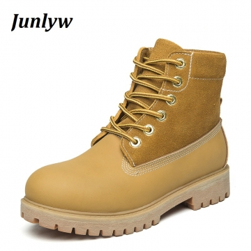 Junlyw Genuine Leather Men Boots Ankle Boots New Martin Boots Shoes Men Fashion Shoes men Boots yellow 41